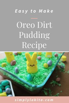 Oreo Dirt Pudding is the perfect Easter dessert fo Oreo Dirt Pudding, Pudding Desserts, Dirt Pudding Recipes, No Bake Desserts, Easy Desserts, Dessert Recipes, Easter Dinner, Easter Brunch, Desserts Ostern