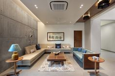 Krishnashray – a+t associates Hall Interior Design, Flat Interior, Luxury Homes Interior, Contemporary Interior Design, Interior Ideas, Living Room Designs India, Living Room Sofa Design, Living Room Modern, Luxury Living Rooms
