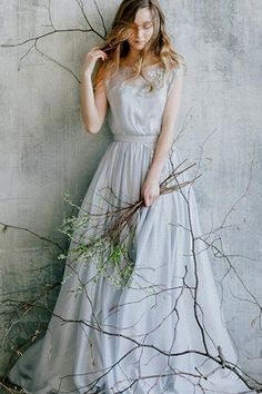 Flowing blue grey wedding dress with floral lace decoration//Romantic wedding gown// Rustic wedding dress of grey color Rustic Wedding Gowns, Rustic Wedding Dresses, Boho Wedding Dress, Wedding Veil, Blue Grey Weddings, Gray Wedding Colors, Wedding Blue, Trendy Wedding, Chic Wedding