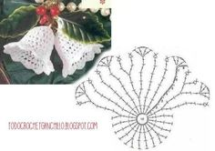 Patron de campana navideña crochet Christmas Charts, Crochet Christmas Ornaments, Christmas Crochet Patterns, Christmas Bells, Crochet Snowflake Pattern, Crochet Snowflakes, Doily Patterns, Crochet Home, Crochet Yarn