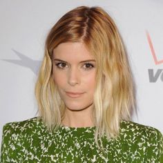 Love the cut, love the color.  Kate Mara's Platinum Blonde Hair Makes Its Red Carpet Debut at the Golden Globes : Lucky Magazine