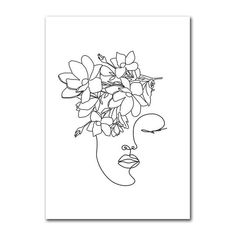 Simple Flower Drawing, Flower Art Drawing, Simple Line Drawings, Flower Sketches, White Canvas Art, Black And White Canvas, White Art, Black White, Minimalist Drawing