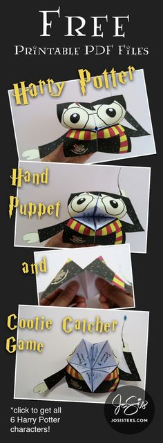 Download this free Harry Potter hand puppet/cootie catcher worksheet game, and use it to teach your students and English learners vocabulary words, story-telling and more.