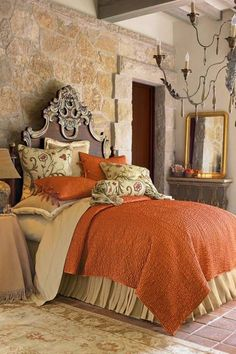 Bedroom , Elegant Tuscan Bedroom Design : Tuscan Bedroom Design With Orange Duver And Covers And Mirror And Chandelier