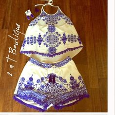 "🎉$30 SALE  🎉 Lace trim shorts & tunic set Royal/white lace trim shorts & top. 100% Polyester. Shorts are lined and feature pockets on each side. Zipper on one side and tie tassels on front.  Available in S(0-4), M(6-8), and L(9/10). TK1275222. Approximate Measurements: shorts LENGTH: From top of waist to bottom hem S-12.5"", M-13"", L-13.5"". WAIST: S-13"", M-14"", L-15"".  Approximate Measurements for top are LENGTH: Small front 20"" back 22"", medium front 21"" back 23"", Large front 22"" back 24""…"