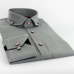 Claudio Lugli Shirt CL28 Black  £70  100% Cotton Cut away small collar Button down collar Dog-tooth Pattern Single button neck Adjustable button cuff Black inside cuffs and collar Red tape inside placket White square buttons Red stitching button holes Machine washable