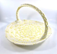 Excited to share this item from my shop: Atlantic Mold Ceramic Large Yellow and White Woven Basket - 1973 Earthenware, Stoneware, Vintage Easter, Furniture Storage, Vintage Home Decor, House Warming, Baskets, Pottery, Etsy Shop