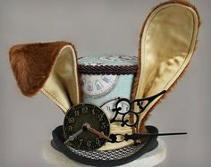 March Hare Mini Top Hat, Brown Rabbit Costume Fascinator, Birthday Hat, Alice in Wonderland Hat, Tea Mode Steampunk, Steampunk Hat, Steampunk Fashion, Gothic Fashion, Steampunk Necklace, Steampunk Clothing, Victorian Fashion, Fashion Fashion, March Hare Costume