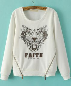 White Long Sleeve Tiger Embroidered Sweatshirt 24.17