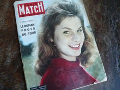 A superb Paris Match from 1955, some excellent mid century adverts and articles. What a brilliant selection of pictures and vintage information; full of celebrity gossip of the day, advertisements, inspiration for scrapbookers,graphic designers, card makers, artists, fashion gurus...I love it!  Its also really good for helping with French learning, my mother tells me she used to buy this as a teenager to help with her French, an interesting way to learn new vocabulary.  This issue is a…
