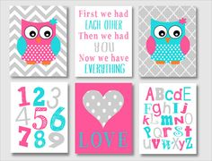 Baby girl nursery art - owl nursery decor - aqua and pink - owl - deer -girl room - Love - now we have everything - ABC- modern girl nursery...
