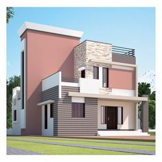 Awesome Two Stories House Exterior And Front Elevation Idea. Exterior Paint Colors For House, Paint Colors For Home, Paint Colours, House Front Design, Modern House Design, Kerala House Design, House Elevation, Front Elevation, House Painting