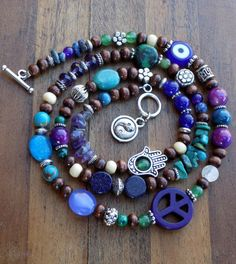 Energy Charged Purple & Blue Multi Stone and Wood Beaded Wrap - Necklace / Anklet / Bracelet  - Jewelry, Multi use, Wrap, Beaded, Handmade, Small Business, Shop Small, Etsy, Hippie, Boho, Gypsy, Spiritual Turtle, Etsy, Healing Energy, Reiki, Energy Infused, Crystals, Stones, New Age, Peace Sign, Hamsa, yin Yang, Flower, Evil Eye, Wood, Beaded, Jade, Jasper, Turquoise, Shell, Lapis, Positive Energy, Good Vibes