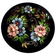 Broche russe Cadeau Femme, Broche en metal peinte Fleurs, Cadeau petit prix