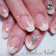 white & gold double french nail