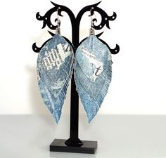 """GENUINE LEATHER feather earrings blue denim jeans & newspaper 4"""", siver findings #YakLialia #Leatherfeather"""