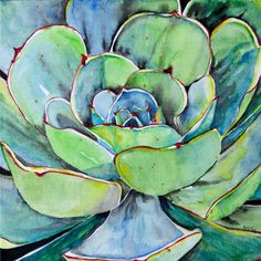 Succulent Painting Original Agave Watercolor Art - Fei Liu - artist rising