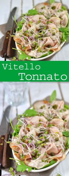 Vitello tonnato, an incredibly tasty starter where you combine fish and meat. Read the easy recipe for this delicious starter. I Love Food, Good Food, Italian Lunch, Healthy Recepies, Fish And Meat, Brunch, Xmas Food, Small Meals, Sin Gluten