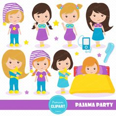Sleepover party clipart, Pajama party clipart, Slumber clipart ...