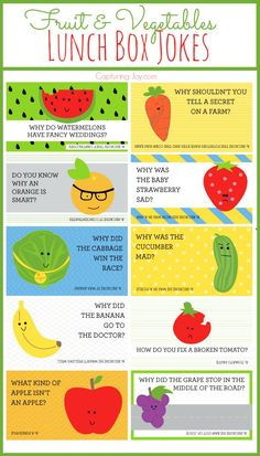 Fruit and Vegetables Lunch Box Jokes for your kids!  Free printables on…