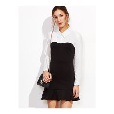 SheIn(sheinside) Color Block Ruffle Hem Shirt Dress ($19) ❤ liked on Polyvore featuring dresses, black and white, flutter sleeve dress, color block dress, short sleeve dress, t-shirt dresses and long sleeve short dress
