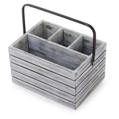Perfect for outdoor entertaining, our galvanized-steel flatware caddy features two bucket compartments joined by a central handle for easy transport to and from the table. Condiment Holder, Cutlery Holder, Wooden Art, Wooden Pallets, Pallet Wood, Star Cafe, Outdoor Dining Set, Outdoor Entertaining, Dining Sets