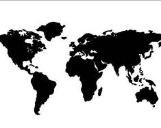 Large world map stencil or decal 36 x 17.5