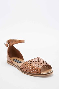 Deena & Ozzy Janie Leather Peep Toe Sandals in Tan