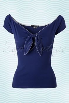 Dames tops - Bunny 50s Bardot Top in Navy