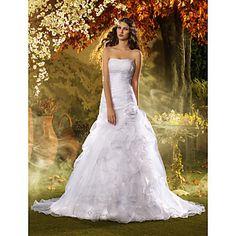 Trumpet/Mermaid Strapless Sweep/Brush Train Organza Wedding Dress (618807) – EUR € 329.99