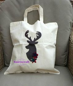 Tote Bag Natural Cotton Cream Stag Head Deer Buck Handmade post to anywhere in the world Scottish Gifts, Stag Head, Handmade Christmas Gifts, Gifts For Mum, Couple Gifts, Make And Sell, Cotton Tote Bags, Handmade Items, Handmade Gifts