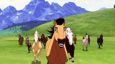 Spirit: Stallion of the Cimarron Horse Animation, Dreamworks Animation, Disney And Dreamworks, Spirit The Horse, Spirit And Rain, Cute Horses, Beautiful Horses, Disney Love, Disney Art