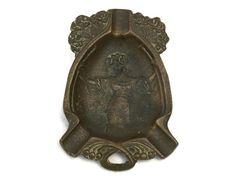 Art Nouveau Woman Ashtray. Antique French Coin Dish with Woman's Portrait.