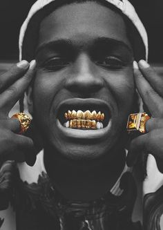 music hip hop rap dope style street artist urban gold rapper streetwear stussy trap ASAP hood by air HBA Arte Do Hip Hop, Hip Hop Art, Lord Pretty Flacko, Asap Mob, Rapper, Gold Grill, Foto Top, Gold Teeth, Street Artists
