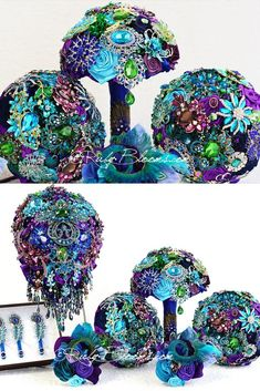 My Peacock Theme Brooch Bouquets - Luxury and Elite Collection - Vibrant Colors of Jeweled Tones Brooch Wedding Bouquets Designed for Peacock Wedding, Bridal Flowers and Special Events! Peacock Wedding Favors, Peacock Wedding Dresses, Creative Wedding Favors, Inexpensive Wedding Favors, Edible Wedding Favors, Personalized Wedding Favors, Purple Wedding, Peacock Themed Wedding, Peacock Wedding Decorations