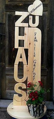 Zu Haus Holz Stele 1,25m Herz  HezlichWillkommen Hochzeit Geburtstag Einzug