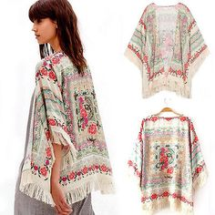 New Summer Women Floral Loose Tassels Shawl Kimono Cardigan Coat Jacket Vogue
