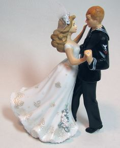 Mermaid and Sailor Wedding Cake Topper by gingerbabies on Etsy