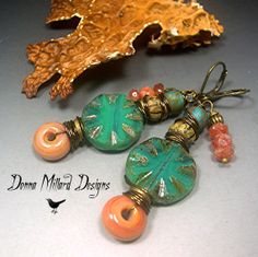 Donna makes stunning handmade lampwork beads, and her jewelry design are outstanding, one of a kind! --- SRA LAMPWORK EARRINGS Donna Millard dangle by DonnaMillard on Etsy, $37.50