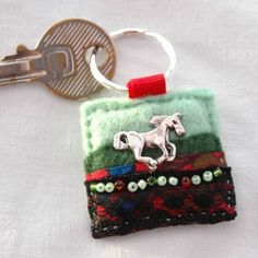 Felt and fabric hand sewn horse keyring - £7.00  www.elliestreasures.co.uk