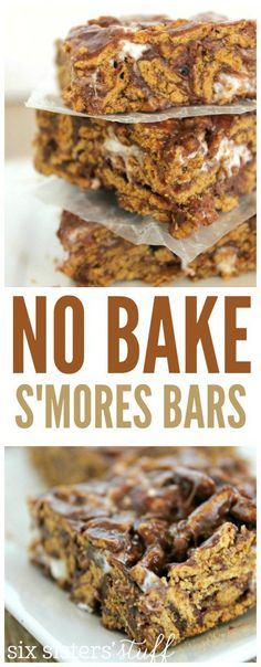 No bake s'mores bars recipe to take on a summer picnic or camping. 13 Desserts, Delicious Desserts, Dessert Recipes, Yummy Food, Bar Recipes, Camping Desserts, Picnic Recipes, Picnic Ideas, Chocolate Desserts