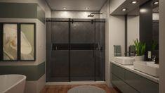 Home Room Design, Dream Home Design, House Design, Door Design, Frameless Sliding Shower Doors, Glass Shower Doors, Dreamline Shower, Shower Remodel, Bathtub Remodel