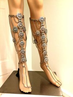 Leg Band. Leg Chains. Silver Color Leg Chains. Leg Harness.