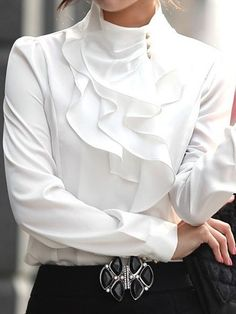 Fascinating Ruffled Artificial Silk Blouse Blouses from fashionmia.com