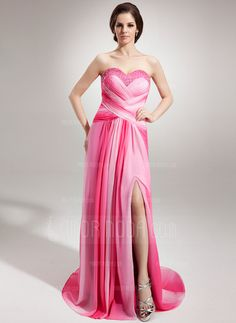 cbd6cdbb53c1e A-Line/Princess Sweetheart Sweep Train Chiffon Evening Dresses With Ruffle  Beading