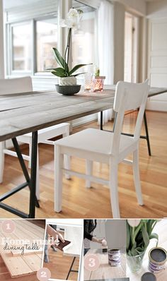 DIY Dining Table: This is the most economical way to get a rustic beautiful dining table at a fraction of the cost! I have done this before. You can also get the exact size and color you want.