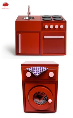 wooden kitchen and washing machine by German brand Hase Weiss