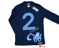 Langarmshirts - Geburtstagsshirt, Zahlenshirt, Zahl, Name, Bagger - ein Designerstück von mein-suessstoff bei DaWanda