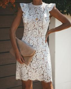 Elegant Round Neck Ruffled Sleeves White Lace Short Dresses, Wedding Guest Dresses Under Mini Outfits Dresses Casual Party Dresses, Bodycon Dress Parties, Elegant Dresses, Beautiful Dresses, Dress Casual, Casual Chic, White Lace Dress Short, Lace Summer Dresses, Short Dresses
