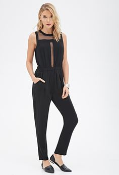 Organza-Cutout Jumpsuit | FOREVER21 - 2000057342